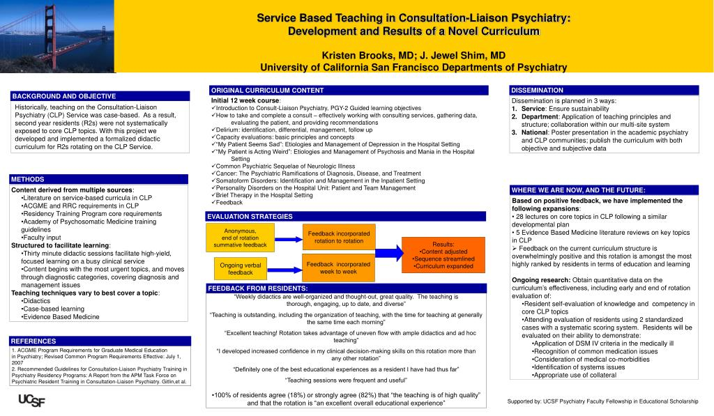 Service Based Teaching in Consultation-Liaison Psychiatry: