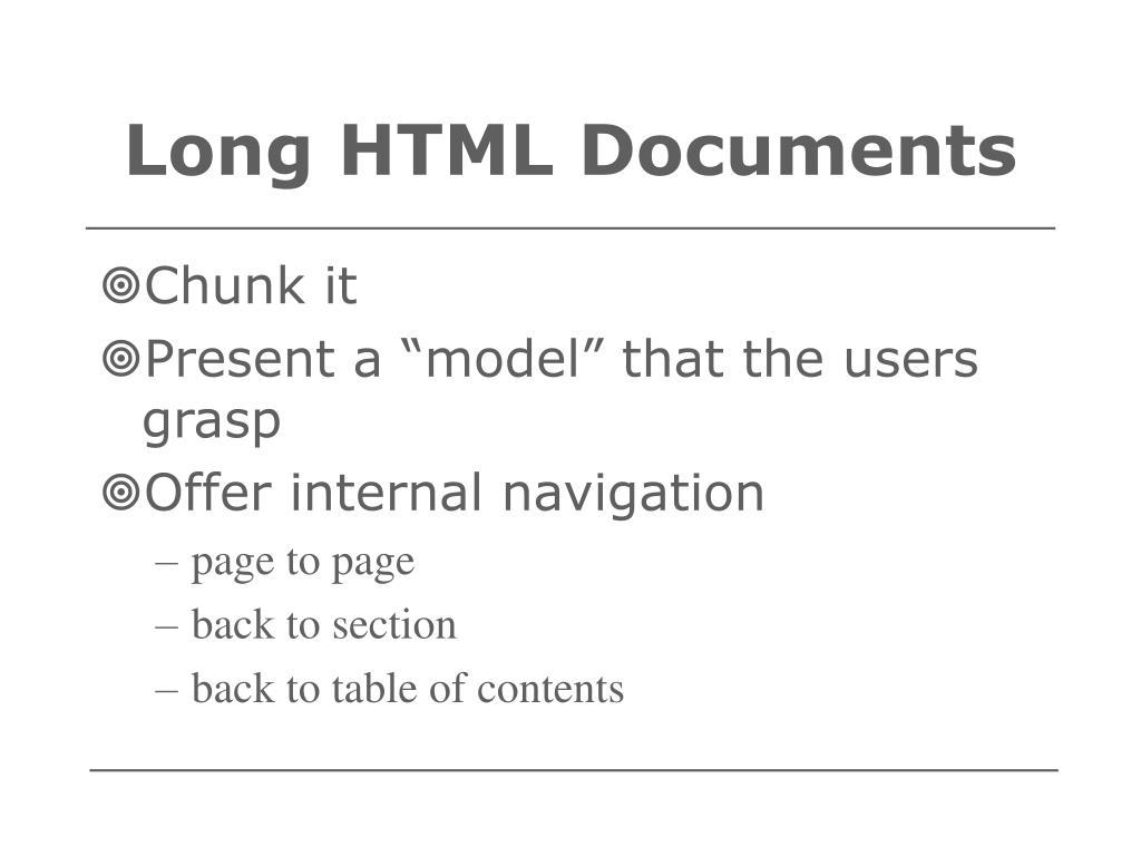 Long HTML Documents