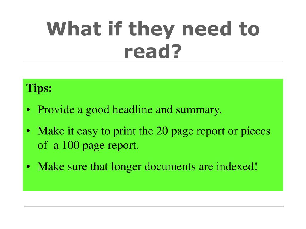 What if they need to read?