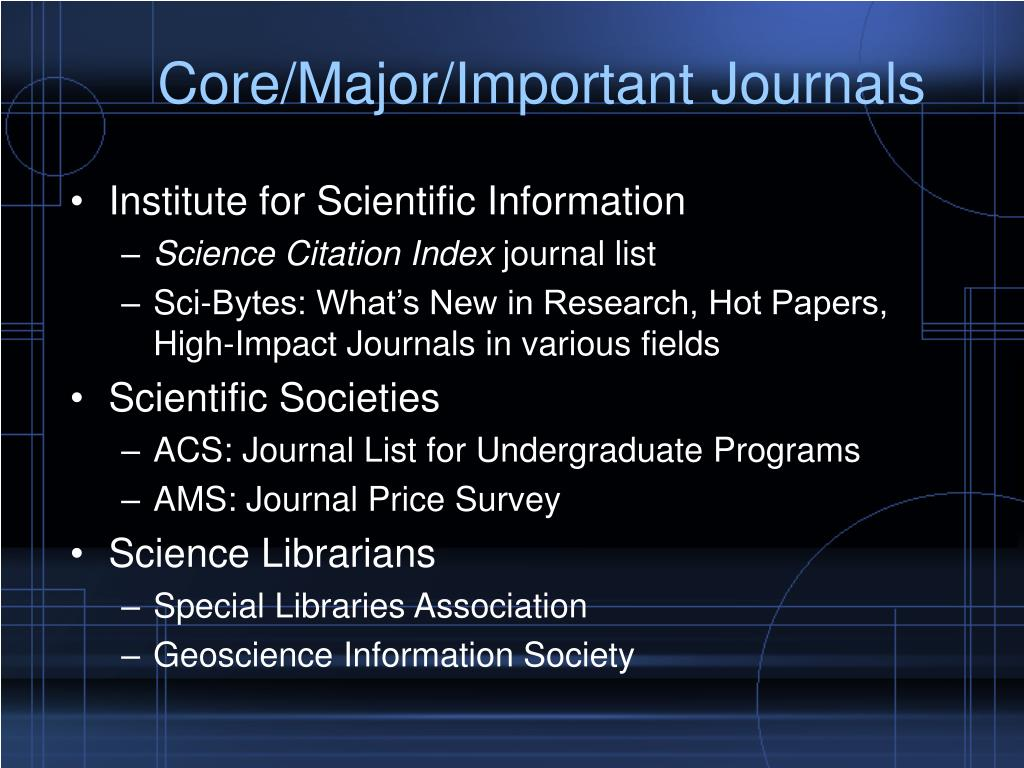 Core/Major/Important Journals