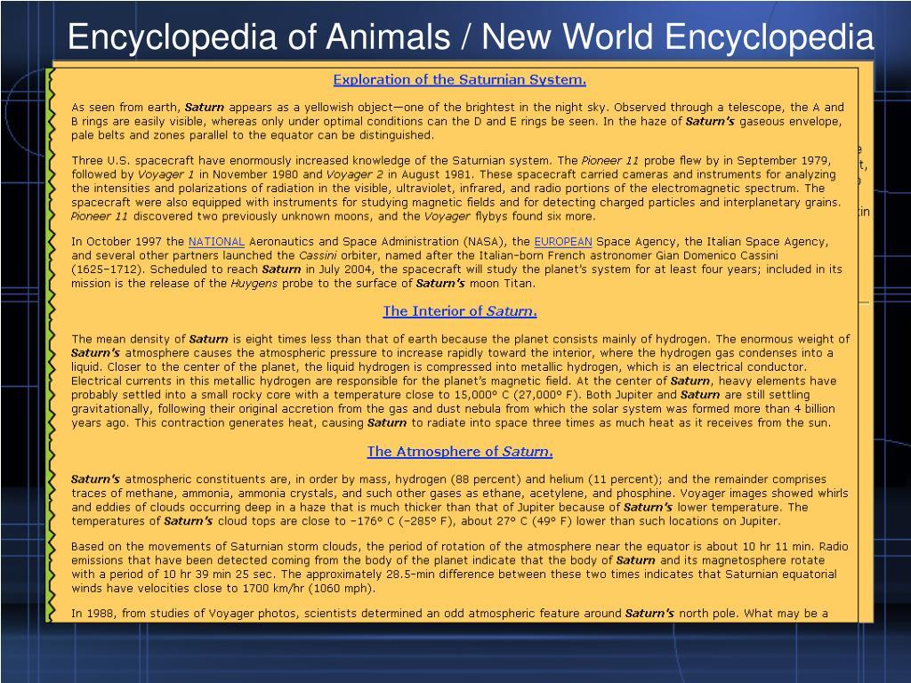Encyclopedia of Animals / New World Encyclopedia
