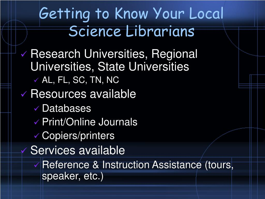 Getting to Know Your Local Science Librarians