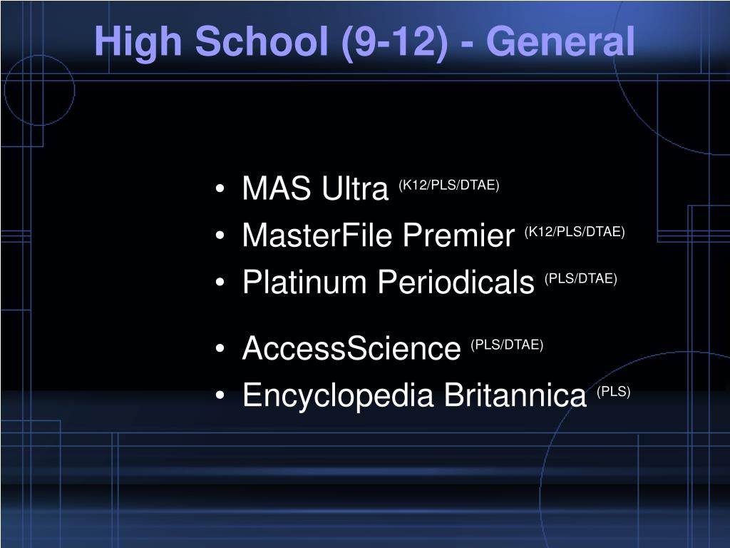 High School (9-12) - General
