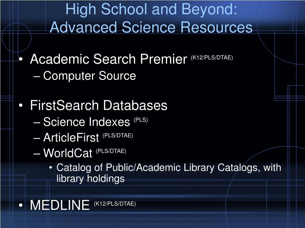 High School and Beyond:
