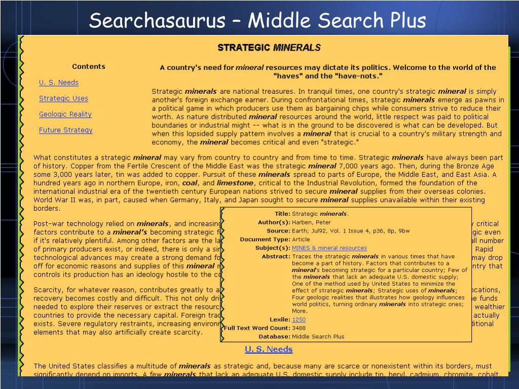 Searchasaurus – Middle Search Plus