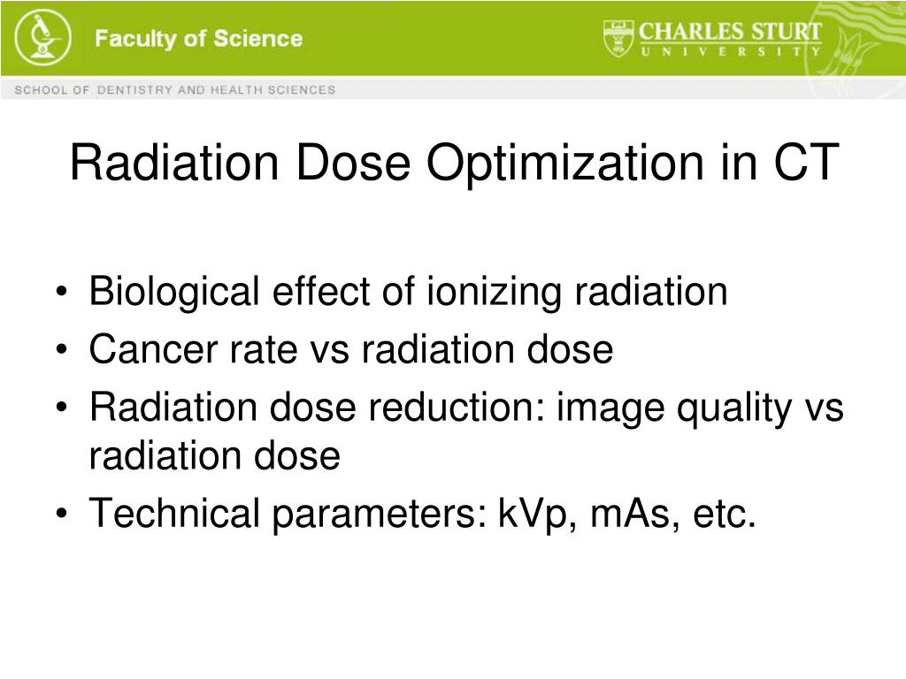 Radiation Dose Optimization in CT