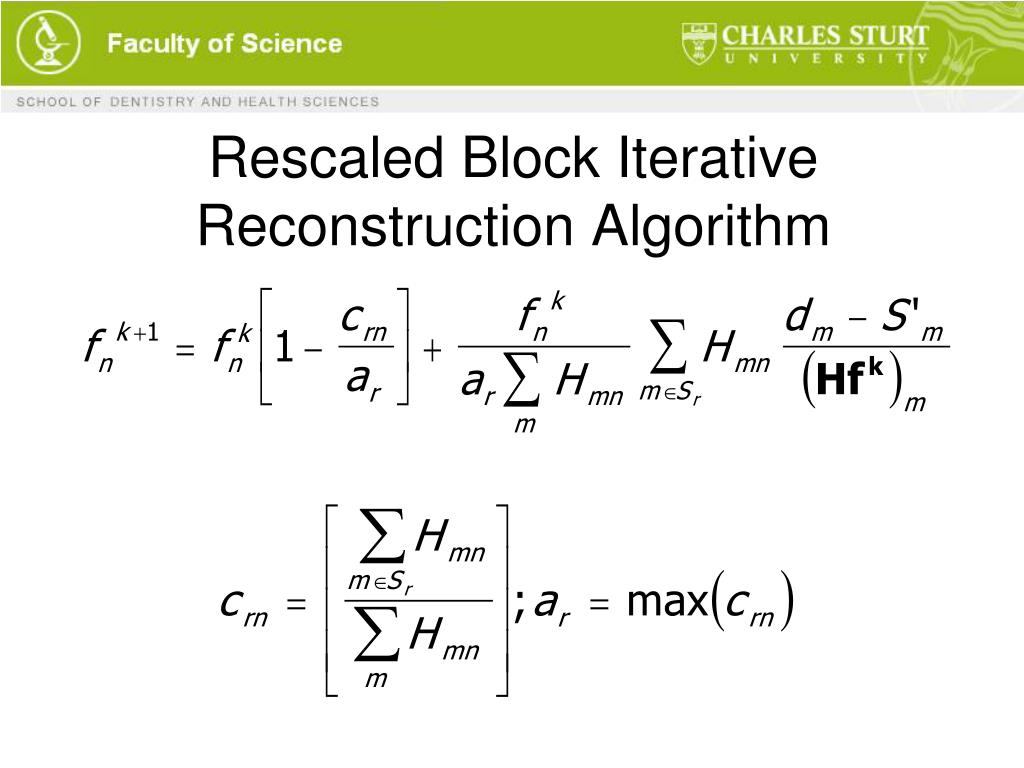 Rescaled Block Iterative Reconstruction Algorithm