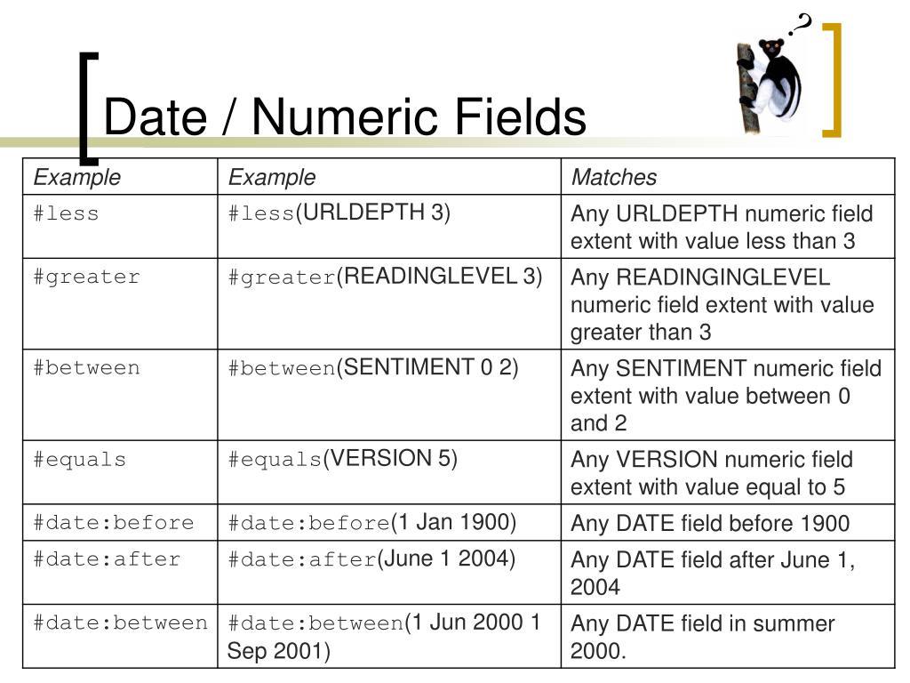 Date / Numeric Fields