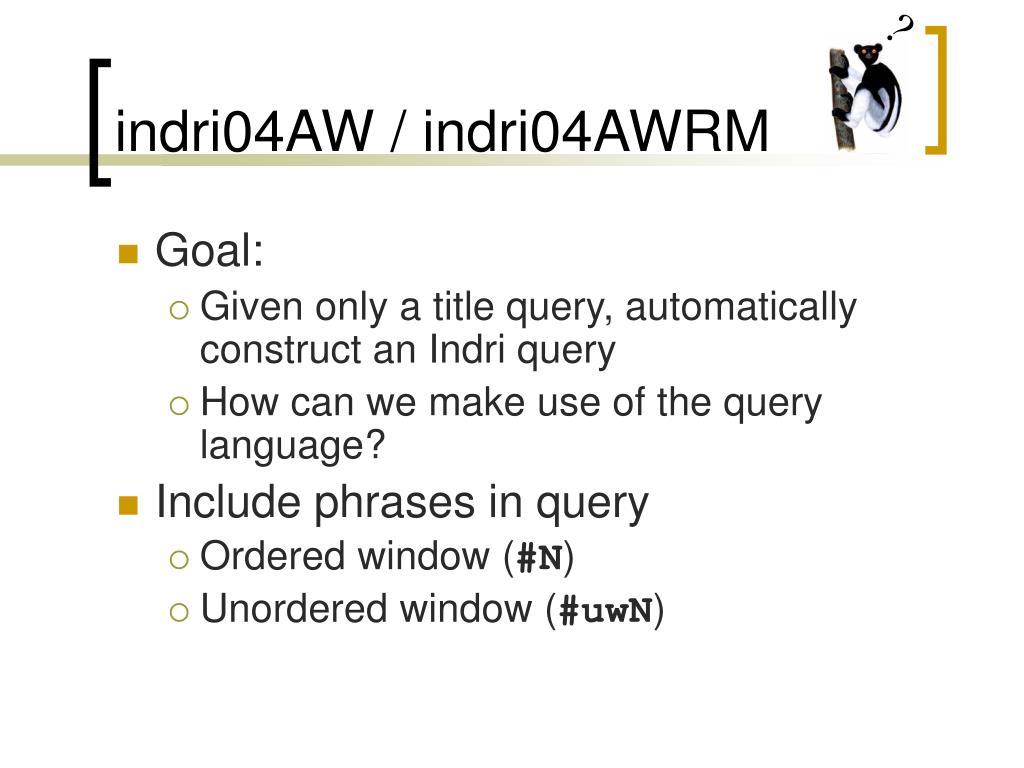 indri04AW / indri04AWRM