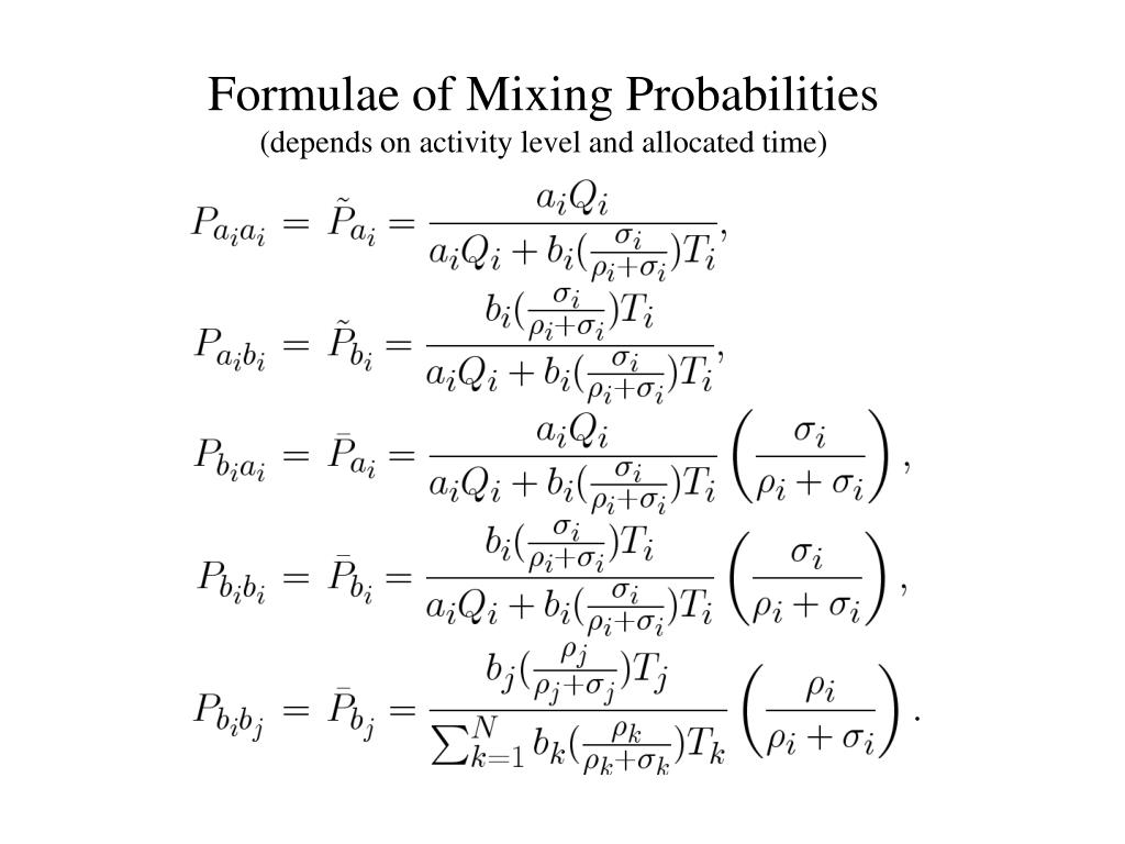 Formulae of Mixing Probabilities