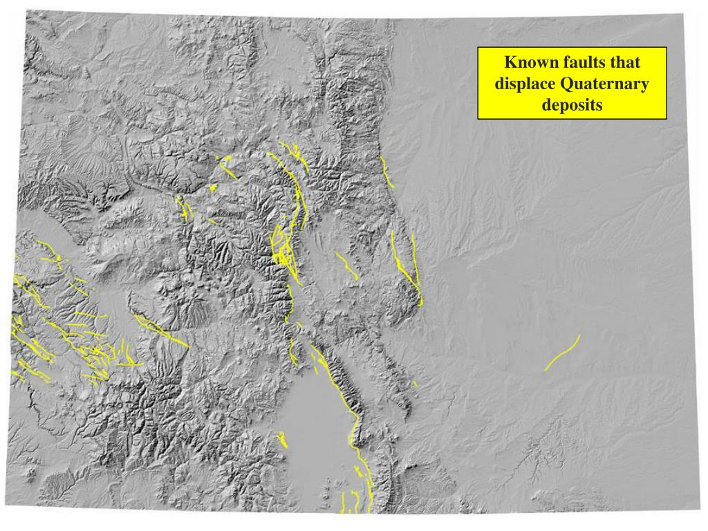 Known faults that displace Quaternary deposits