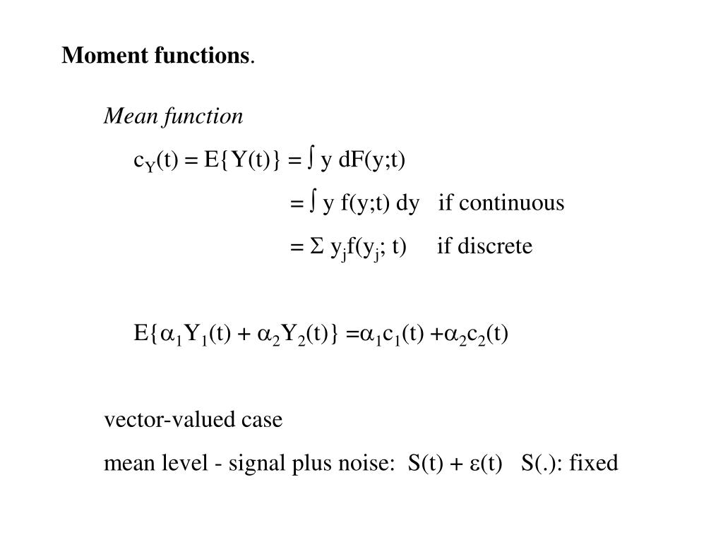 Moment functions