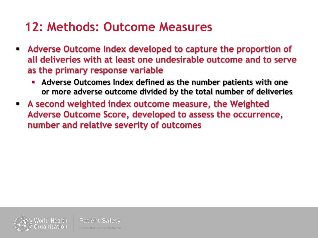 12: Methods: Outcome Measures