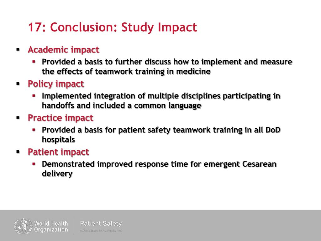 17: Conclusion: Study Impact