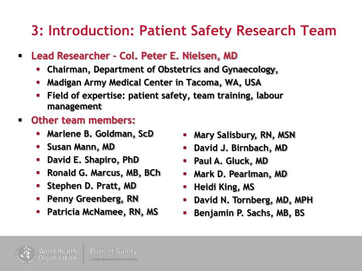 3 introduction patient safety research team