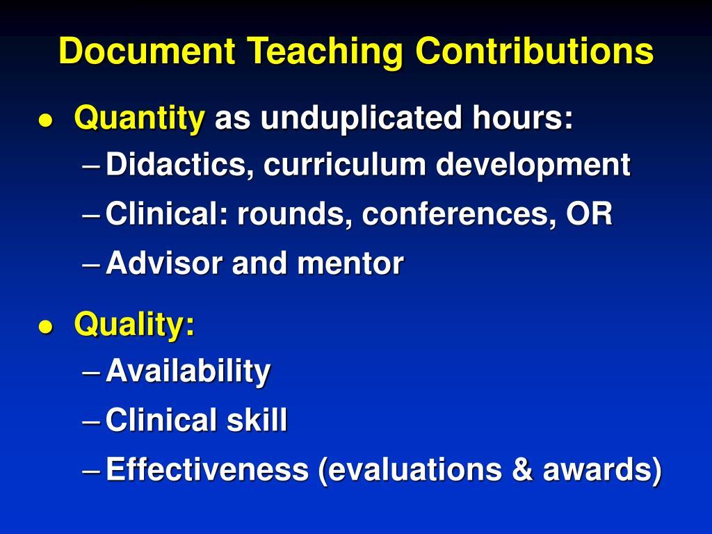 Document Teaching Contributions