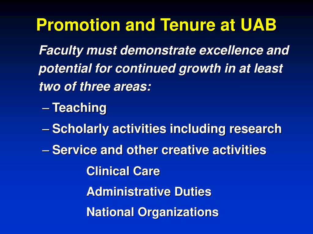 Promotion and Tenure at UAB