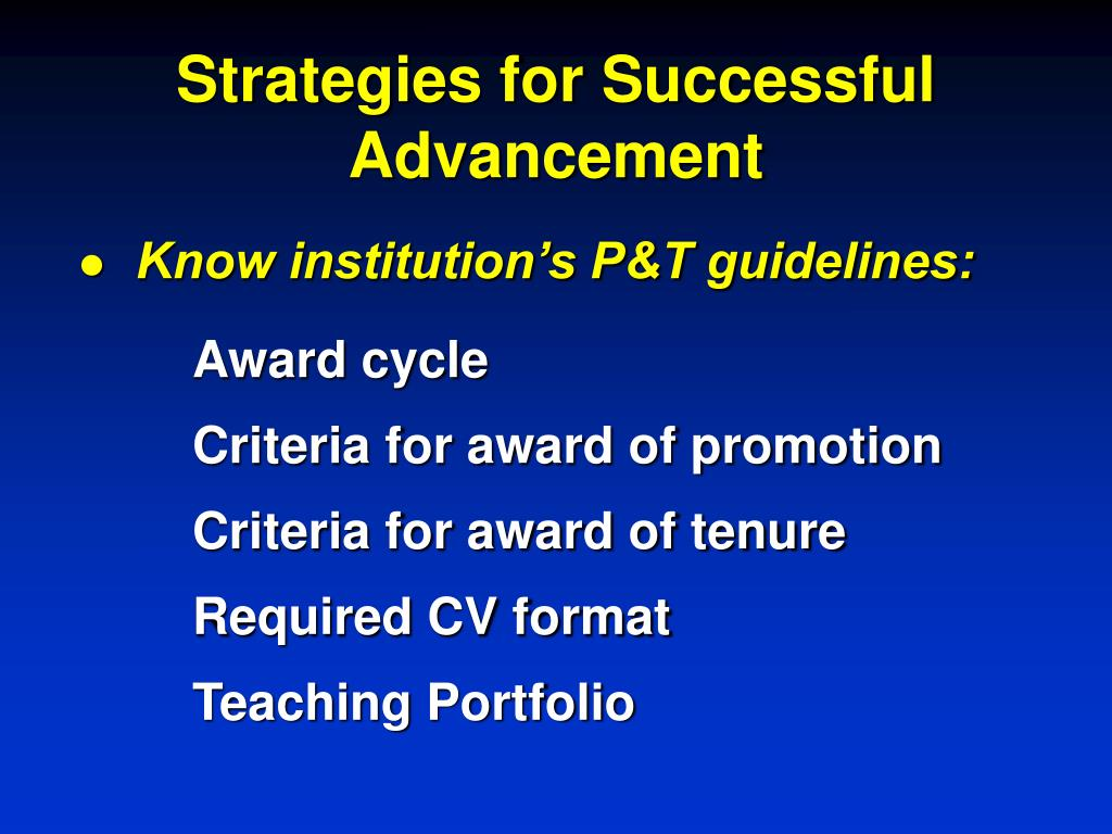 Strategies for Successful Advancement