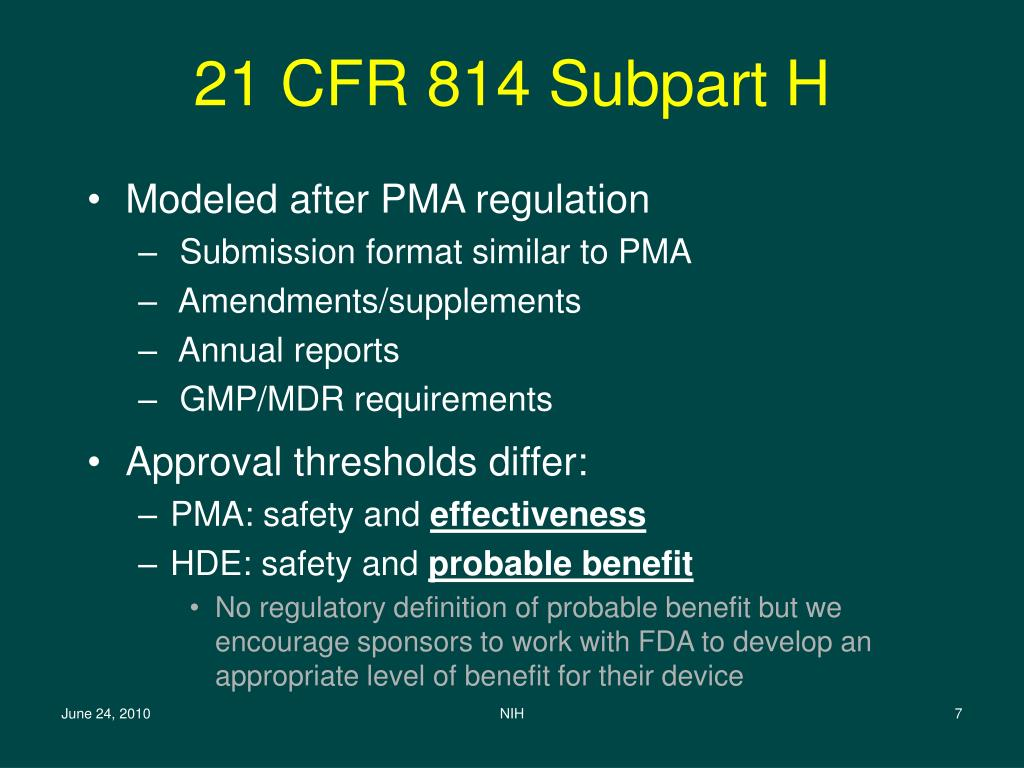 21 CFR 814 Subpart H