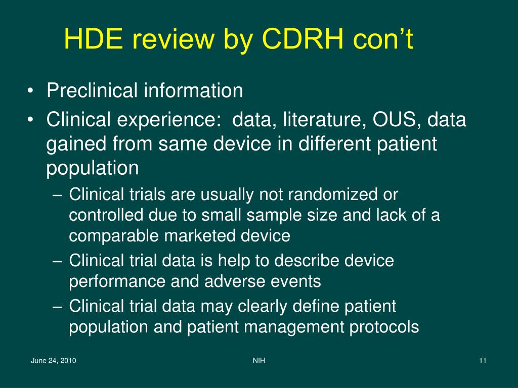 HDE review by CDRH con't