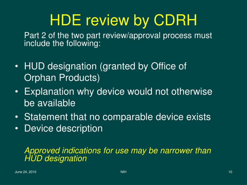 HDE review by CDRH