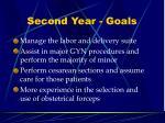 second year goals