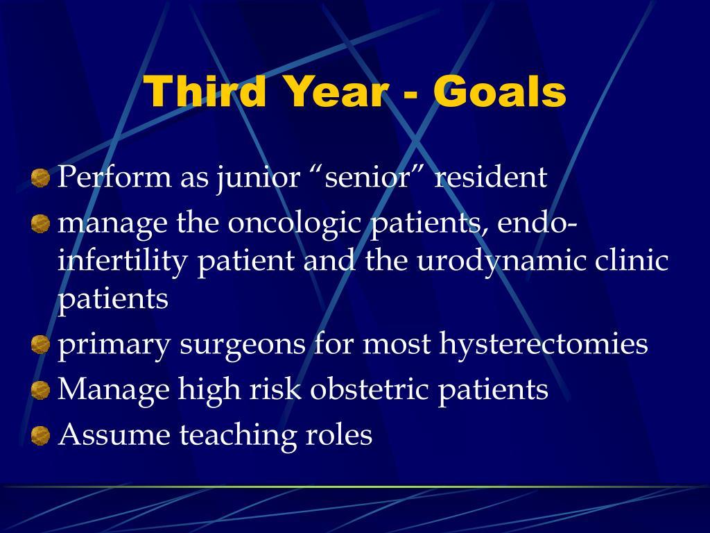 Third Year - Goals