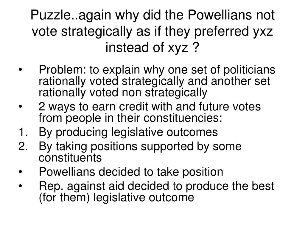 Puzzle..again why did the Powellians not vote strategically as if they preferred yxz instead of xyz ?