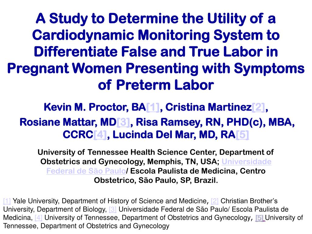A Study to Determine the Utility of a Cardiodynamic Monitoring System to Differentiate False and True Labor in Pregnant Women Presenting with Symptoms of Preterm Labor