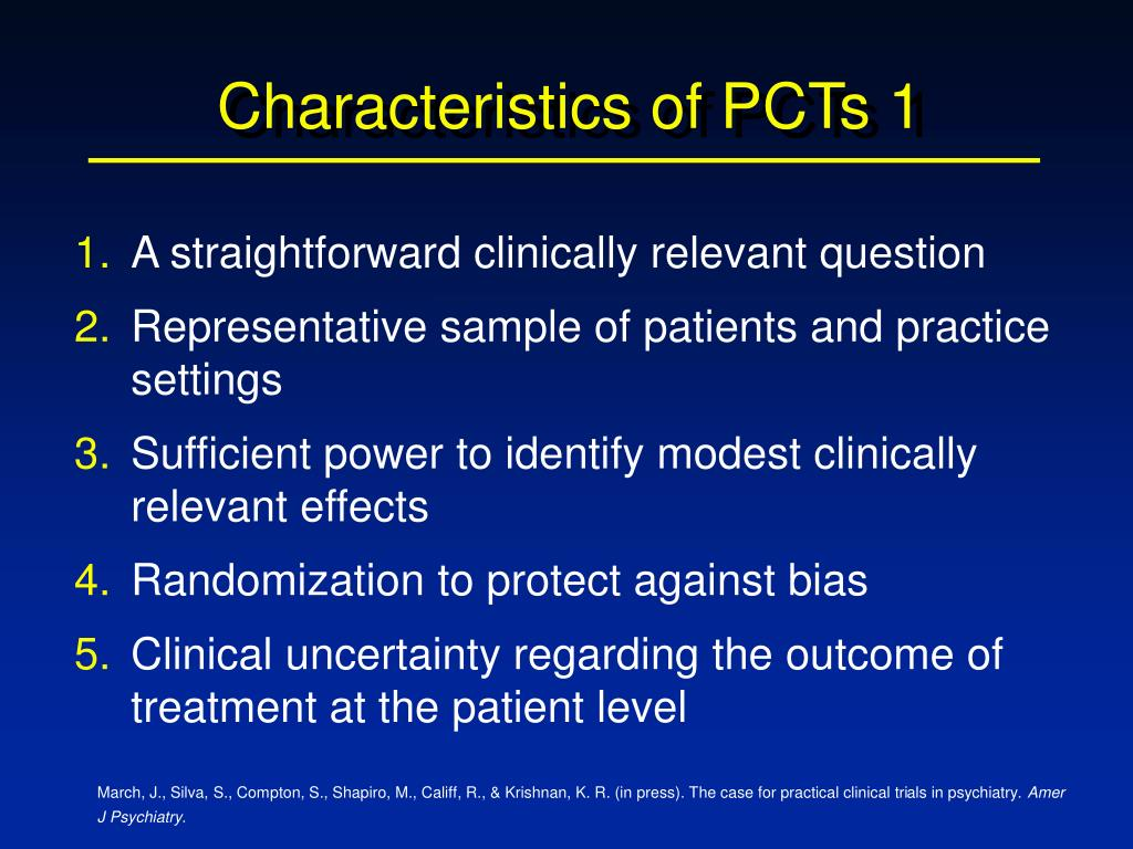 Characteristics of PCTs 1
