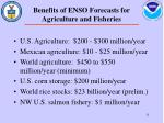 benefits of enso forecasts for agriculture and fisheries
