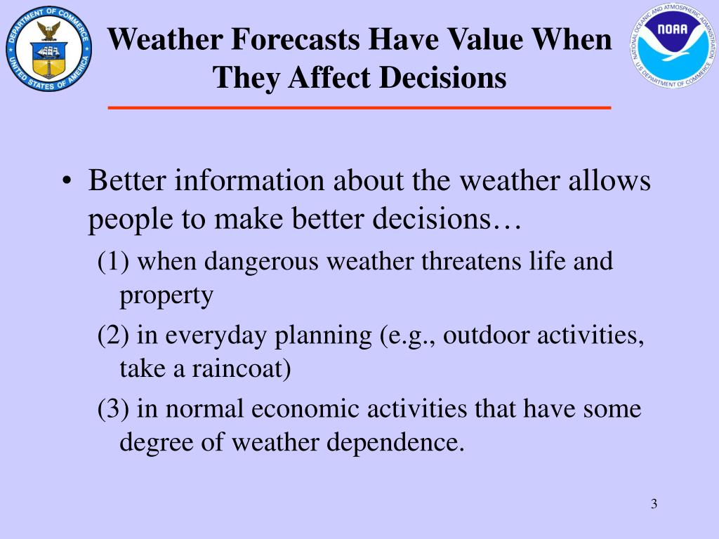 Weather Forecasts Have Value When