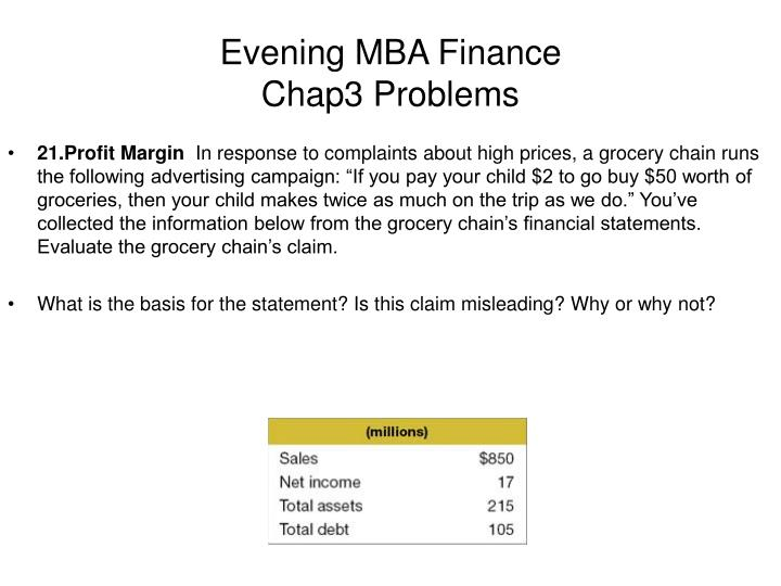 Evening mba finance chap3 problems2