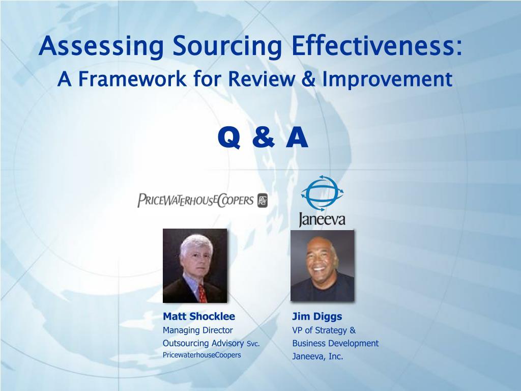 Assessing Sourcing Effectiveness: