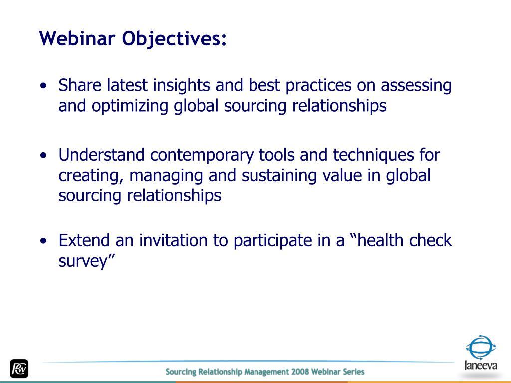 Webinar Objectives: