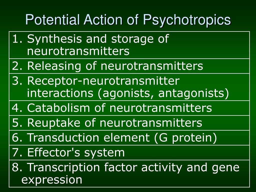 Potential Action of Psychotropics