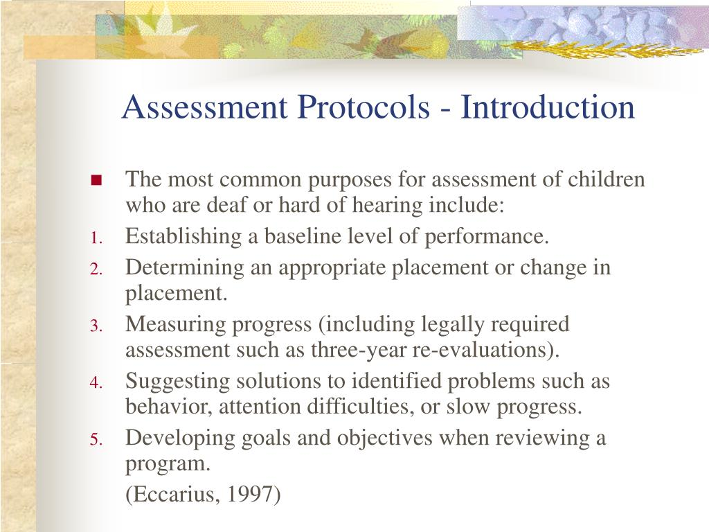 Assessment Protocols - Introduction