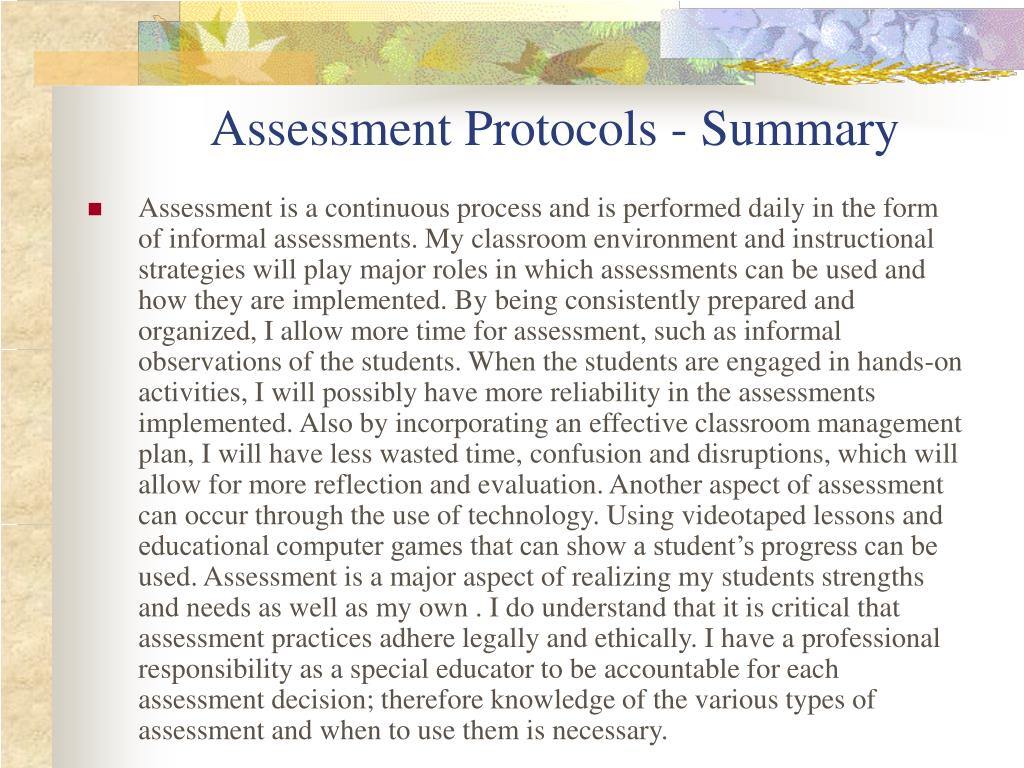 Assessment Protocols - Summary