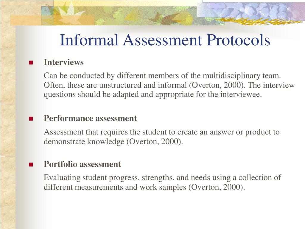 Informal Assessment Protocols