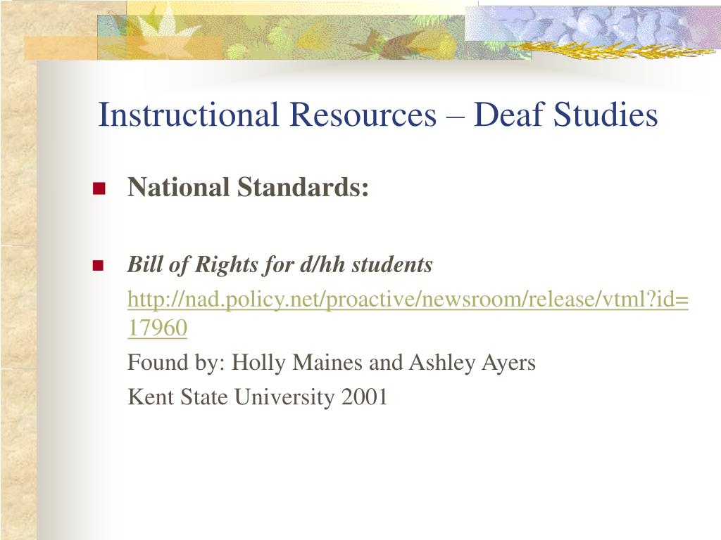 Instructional Resources – Deaf Studies