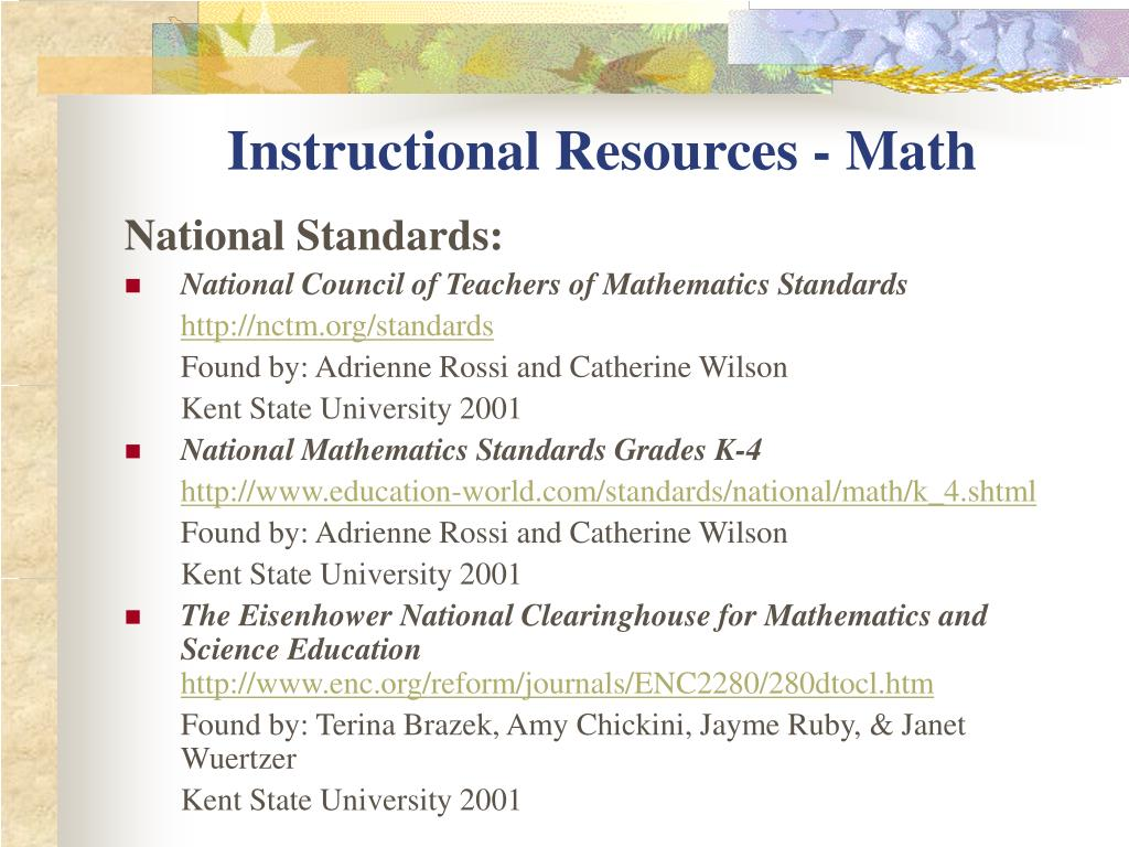 Instructional Resources - Math