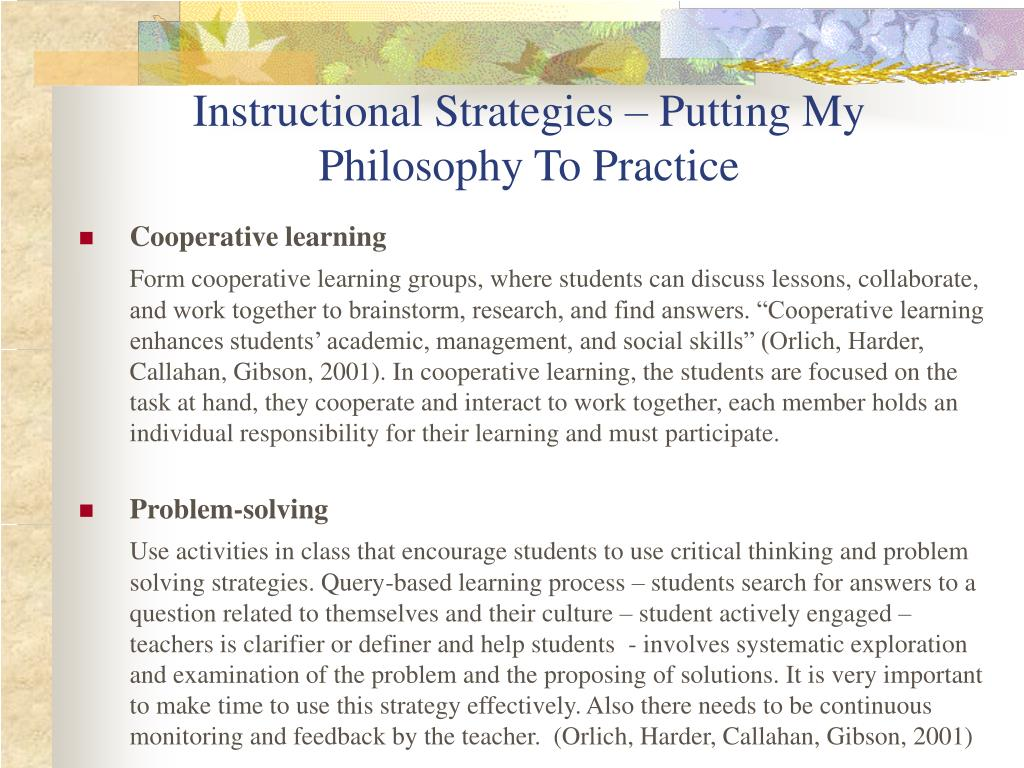 Instructional Strategies – Putting My Philosophy To Practice