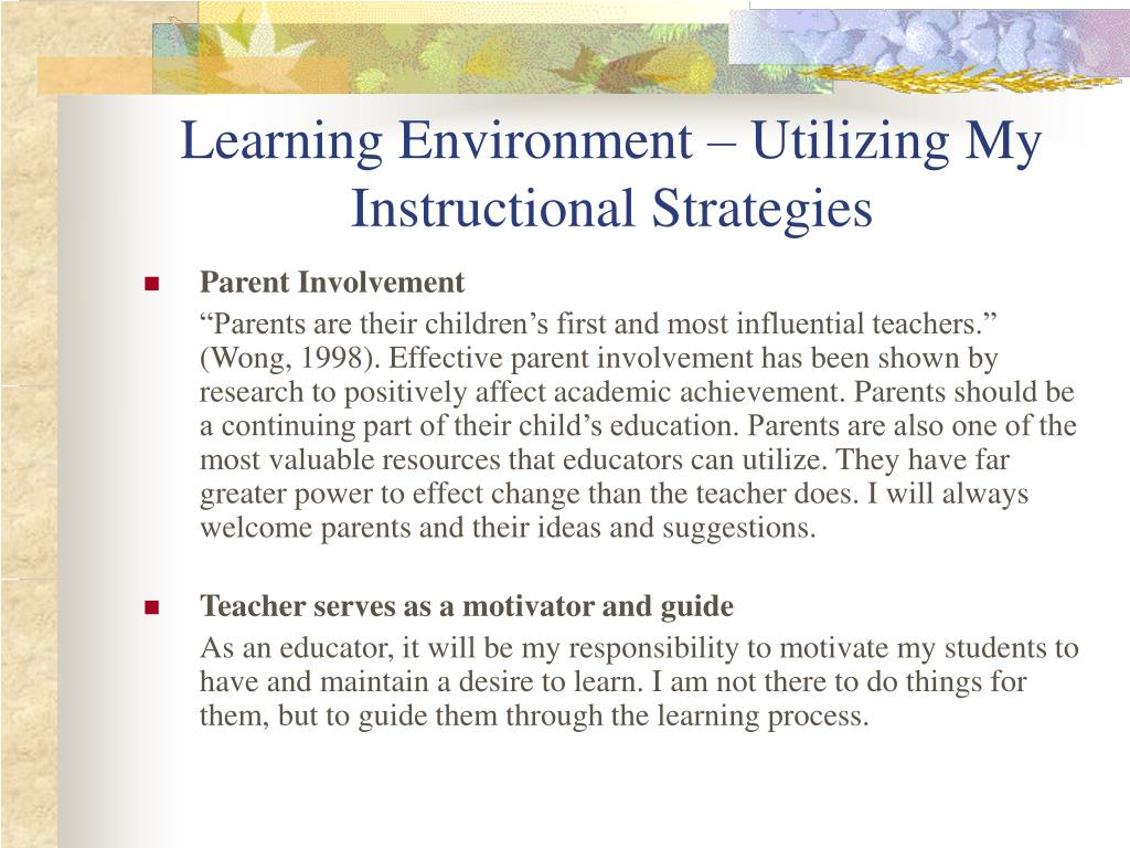 Learning Environment – Utilizing My Instructional Strategies
