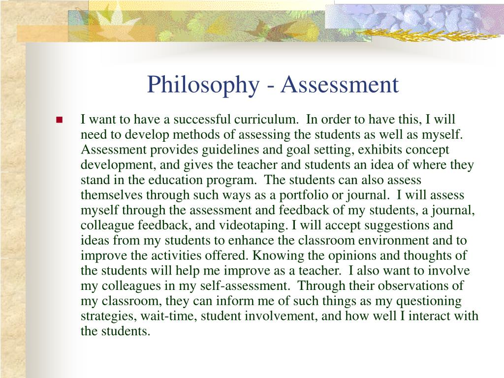 Philosophy - Assessment