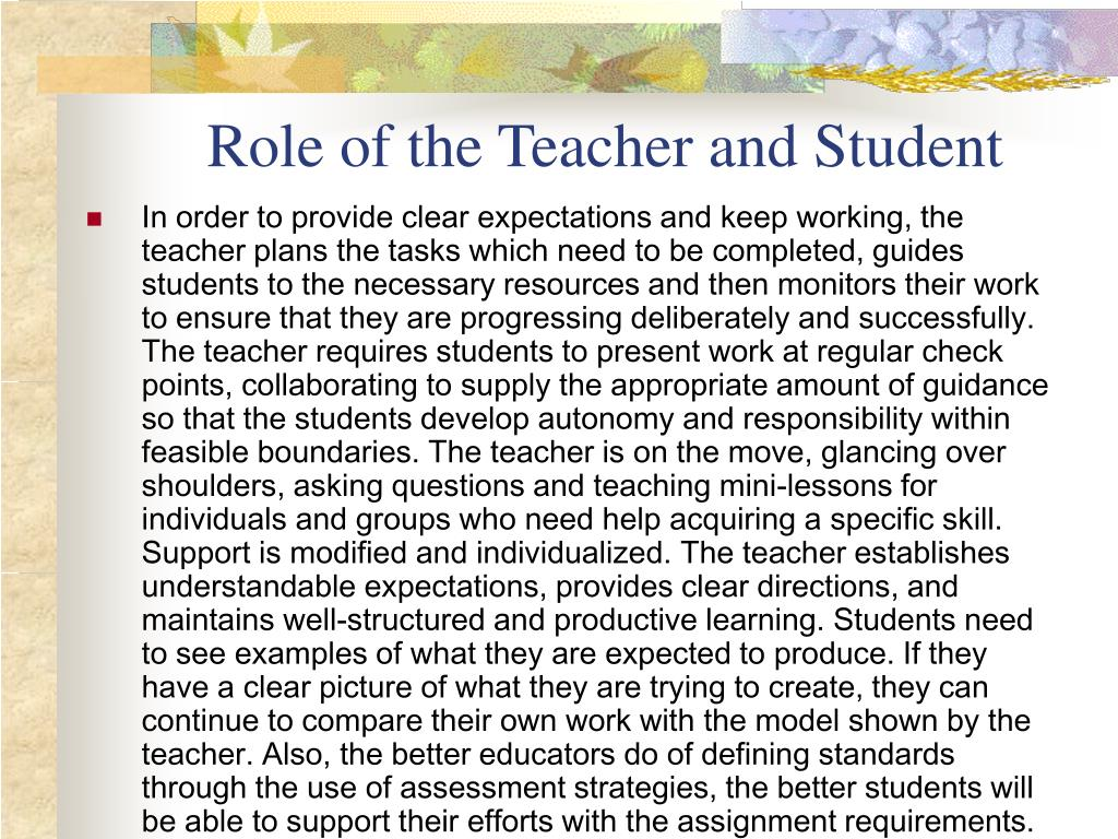 Role of the Teacher and Student