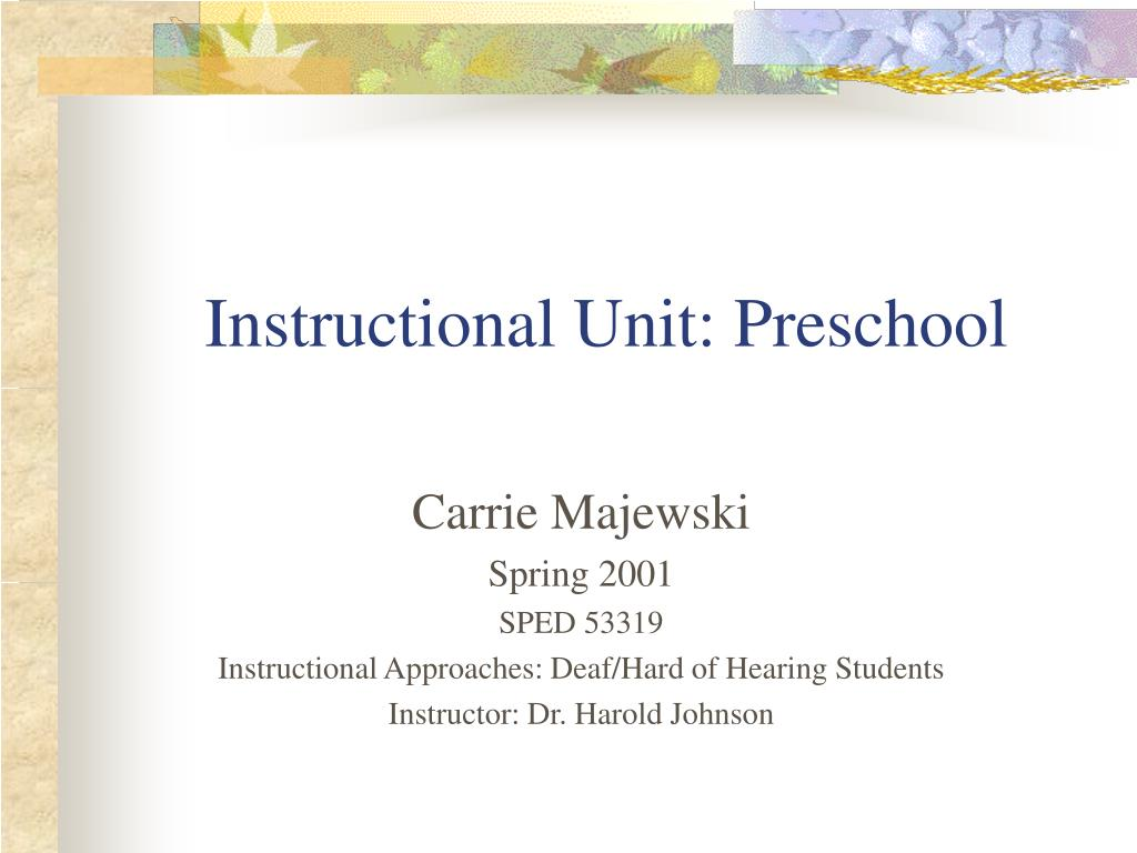 Instructional Unit: Preschool