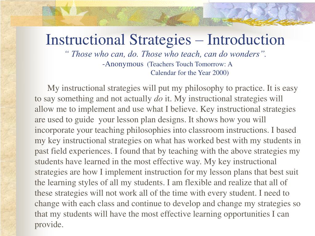 Instructional Strategies – Introduction