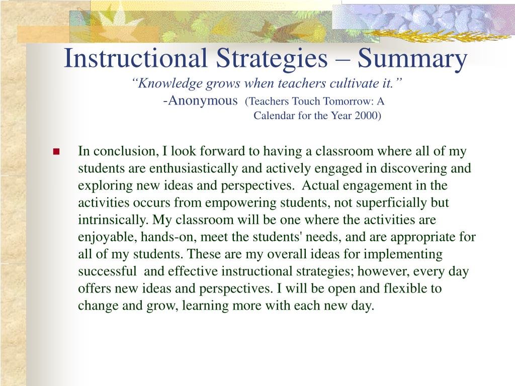 Instructional Strategies – Summary