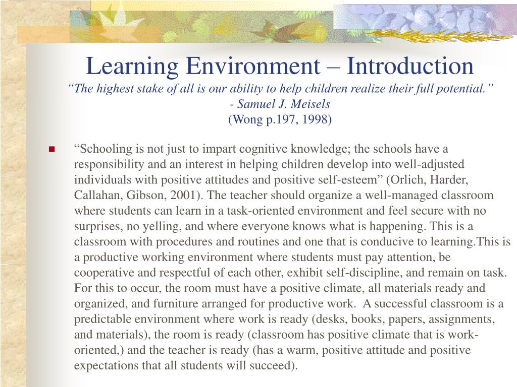 Learning Environment – Introduction