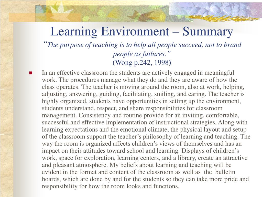 Learning Environment – Summary